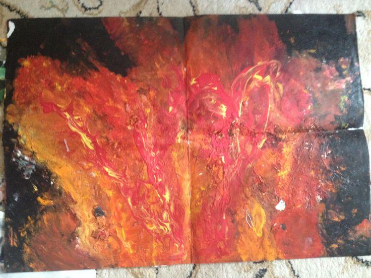 Fire  Oil acrylic poster paint PVA glue