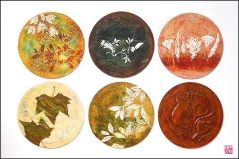 April Shin Brown in circle, mixed media on board, 600 x  900mm 2007
