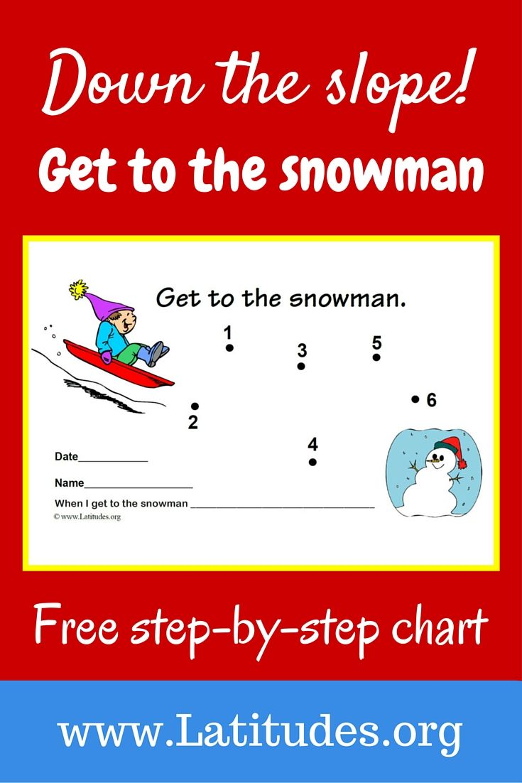 Use this wintery snowman incentive chart for encouraging a single behavior at home or school. Depending on the type of action desired, this chart can be used for either a specific behavior taking place or on a time interval (such as on the half hour) when a level of the behavior has been reached.
