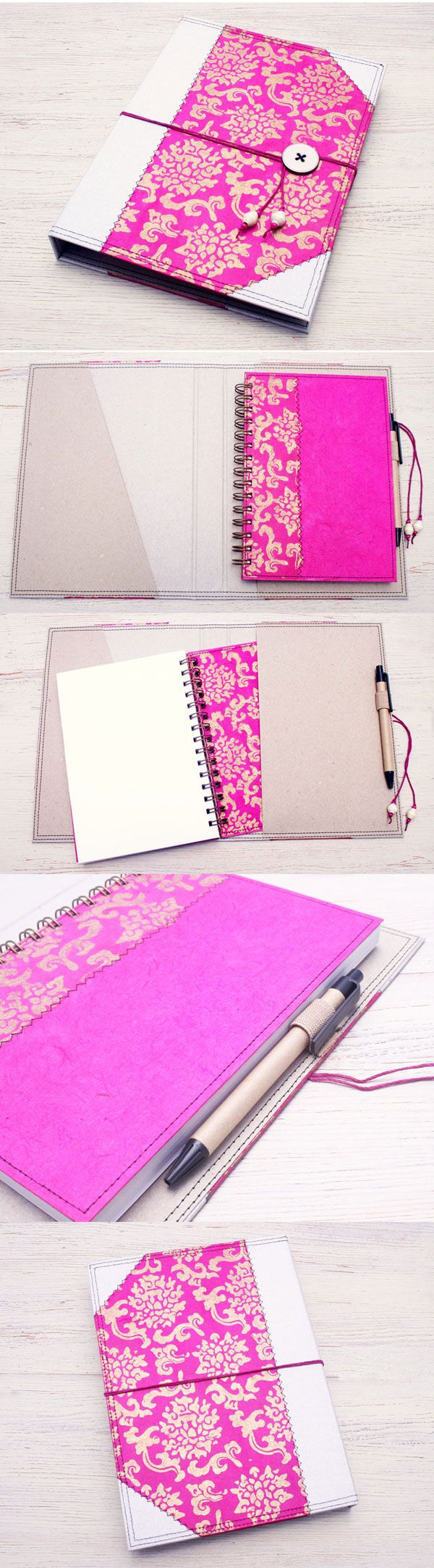 Pink and Silver Notebook Cover Folder by Little Deer Studio. Handmade from recycled and handmade papers. Fits any A5 size notebook