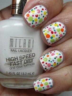 gouttes multicolores pour égayer nos #ongles #vernis #nail