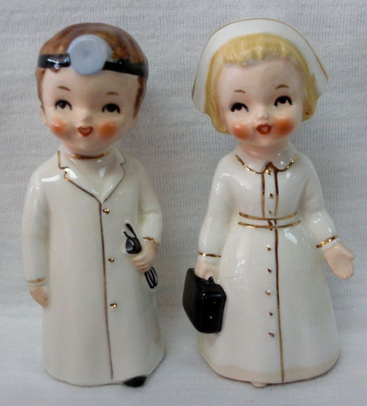 """Vintage """"Doctor & Nurse"""" Salt & Pepper Shakers...1950-60s Japan. ( Not associated with a holiday,but very cute)"""