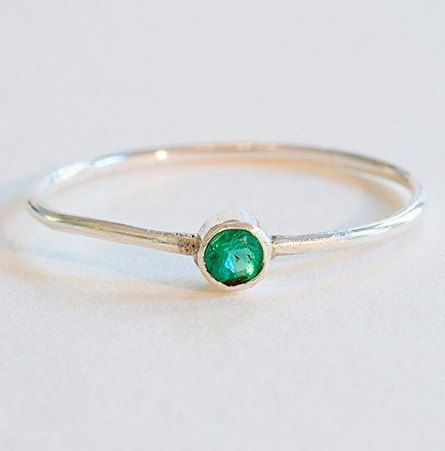 Emerald Ring Gemstone Engagement Ring Sterling Silver 925 Promise Ring For Her