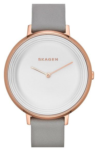 Skagen+'Gitte'+Round+Slim+Leather+Strap+Watch,+38mm+available+at+#Nordstrom