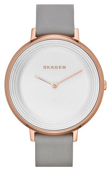 Skagen+'Gitte'+Round+Slim+Leather+Strap+Watch,+38mm+available+at+#Nordstrom