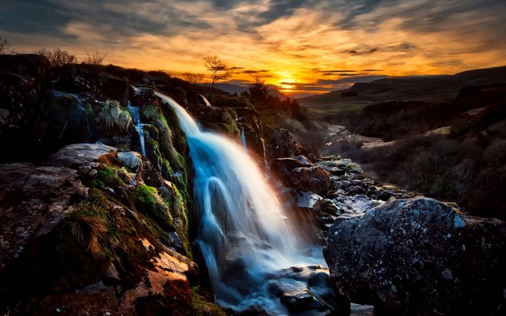 Download wallpapers Scotland, waterfalls, river, sunset, HDR, UK