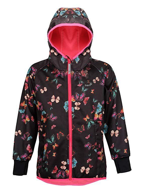 3d5db503cd8 Therm Softshell Girls Rain Jacket - Waterproof All-Weather Hoodie Raincoat  (6