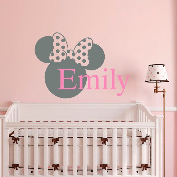Name Wall Decal Minnie Mouse Ears Personalized Custom Baby Girl Name Decals Nursery Bedding Kids Girls Bedroom Wall Art Home Decor M046