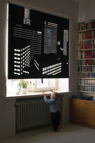 Better View is is a series of perforated black out roller blinds designed  by Finnish designer Elina Aalto of Fiasko Design. Light seeps in through  the smal