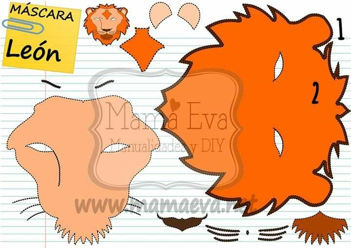 Máscara de león. Muchas más en www.mamaeva.net. Visítanos!