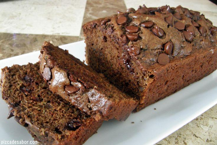 Panque de chocolate saludable con zucchini - Pizca de Sabor