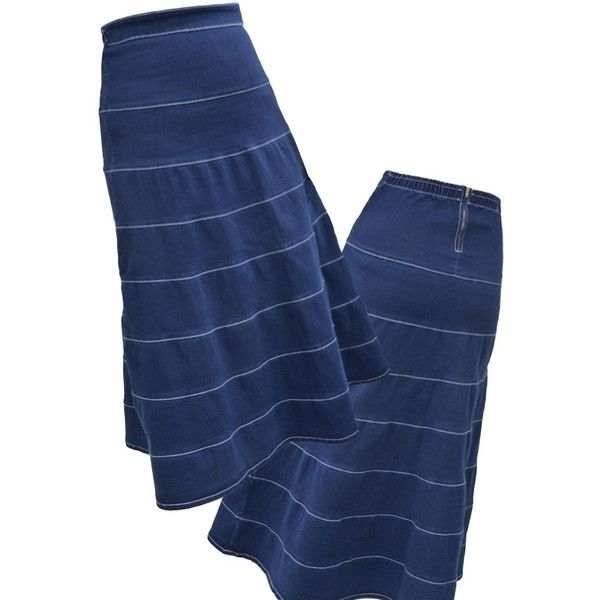 Kosher Casual Navy Long Denim Tiered Layers Skirt ($58) ❤ liked on Polyvore featuring skirts, blue, navy blue long skirt, long skirts, navy maxi skirt, long maxi skirts and long layered skirt