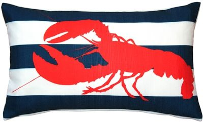 Red Lobster Nautical Throw Pillow 12X20 #inlovewithstyle #stripes #InteriorDesign #PillowDecorCom #lobster