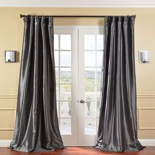 @Overstock - Make a dramatic statement in your living area with a gray faux silk curtain panel. Made from faux silk taffeta, this curtain is designed to fit any standard size window. The shimmering graphite color is bold, adding sophistication to any room.http://www.overstock.com/Home-Garden/Solid-Faux-Silk-Taffeta-Graphite-96-inch-Curtain-Panel/5624127/product.html?CID=214117 $89.99