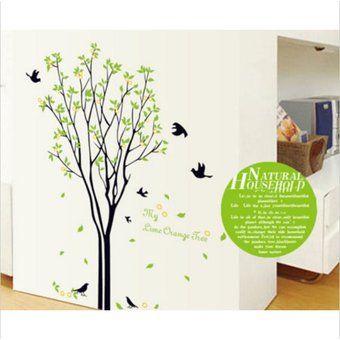 Negro del árbol del pájaro de la cita extraíble pared del vinilo casero mural del arte DIY decoración de la etiqueta engomada 0519