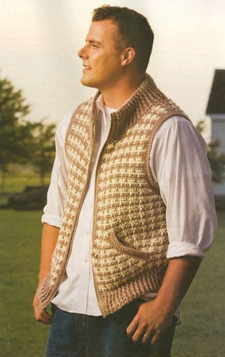 Zip-Front Houndstooth Vest. I think this is definitely my all-time favorite mens design. Not something you would expect in crochet.
