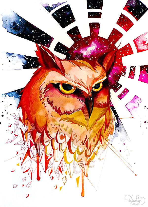 illustration by #dushky | #art #illustration #tattoo #design #watercolor #owl #sun #space #nebula #geometric