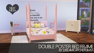 My Sims 4 Blog: Four Poster Bed - Frame Only by DreamcatcherSims4
