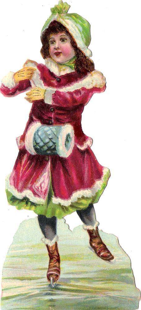 Oblaten Glanzbild scrap die cut chromo Kind child 16cm  girl lady ice Eis winter: