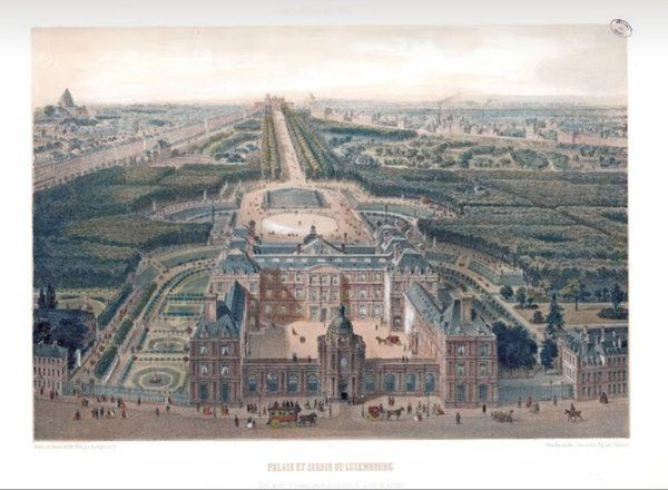 Vue du #PalaisDuLuxembourg et de son #JardinDuLuxembourg prise au dessus de la rue de Tournon // 1850