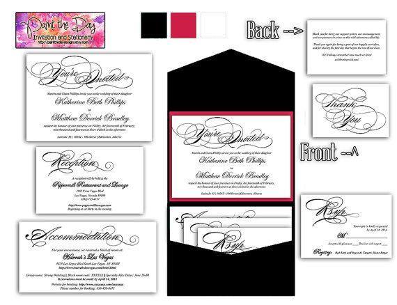 ... Calligraphy 5x7 Wedding Pocketfold Microsoft Word Template | B