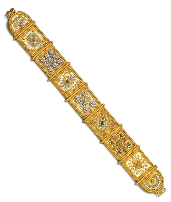 Gold and gem set bracelet, Giacinto Melillo, late 19th century:  The seven square and two semi-circular hinged plaques applied with gold filigree and granulation work, decorated with floral and foliate motifs in polychrome enamel, a seed pearl and stone beads, length approximately 190mm, signed GM for Giacinto Melillo.