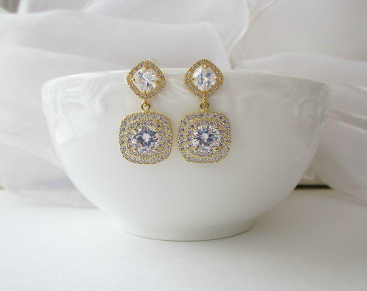 Gold Cubic Zirconia Earrings, Bridal Earrings Gold, Earrings for the bride, Wedding Jewelry, Crystal Earrings, Pave Earrings, Stud Earrings by Uniquebeadables on Etsy