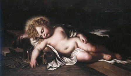 """Domenico Piola (Genova 1627 - 1703), """"Gesù Bambino dormiente (Allegoria della Redenzione),  olio su tela, cm 75 x 125, #PinacotecaCivica #AscoliPiceno #Marche #Italy"""