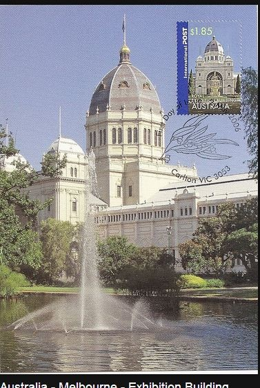 Australia - Melbourne - Exhibition Building.  One of the two cultural WH listed sites in Australia.   The Royal Exhibition Building and its surrounding Carlton Gardens were designed for the great international exhibitions of 1880 and 1888 in Melbourne.  World Heritage listed in 2004