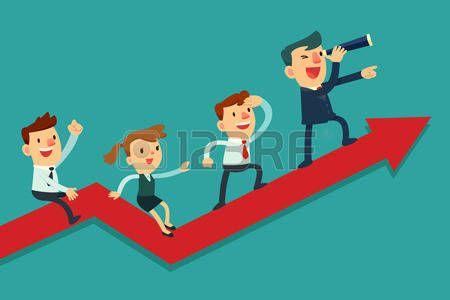 Ilustración de equipo de negocios en gráfico de flecha. El líder del equipo tiene telescopio y llevar a su equipo al éxito
