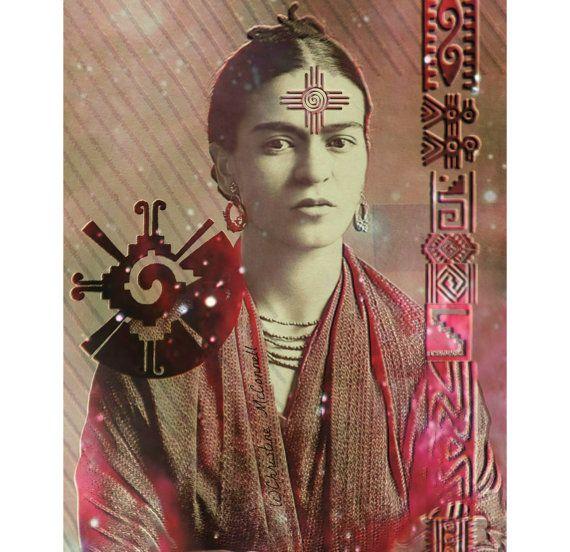 Frida Kahlo Maya Sanat Baskı Tanrıça Karışık Medya İmzalı Kolaj Duvar Ev Dekor Güneş Samanyolu Yıldız Galaxy Doğurganlık Kabartmalı Meksika Mexico