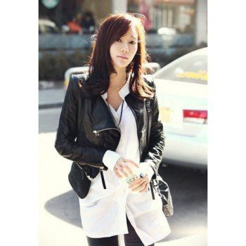 $20.80 Modern Style Lapel Neck Zipper Design Slimming Long Sleeve Black Color PU Leather Short Women's Jacket