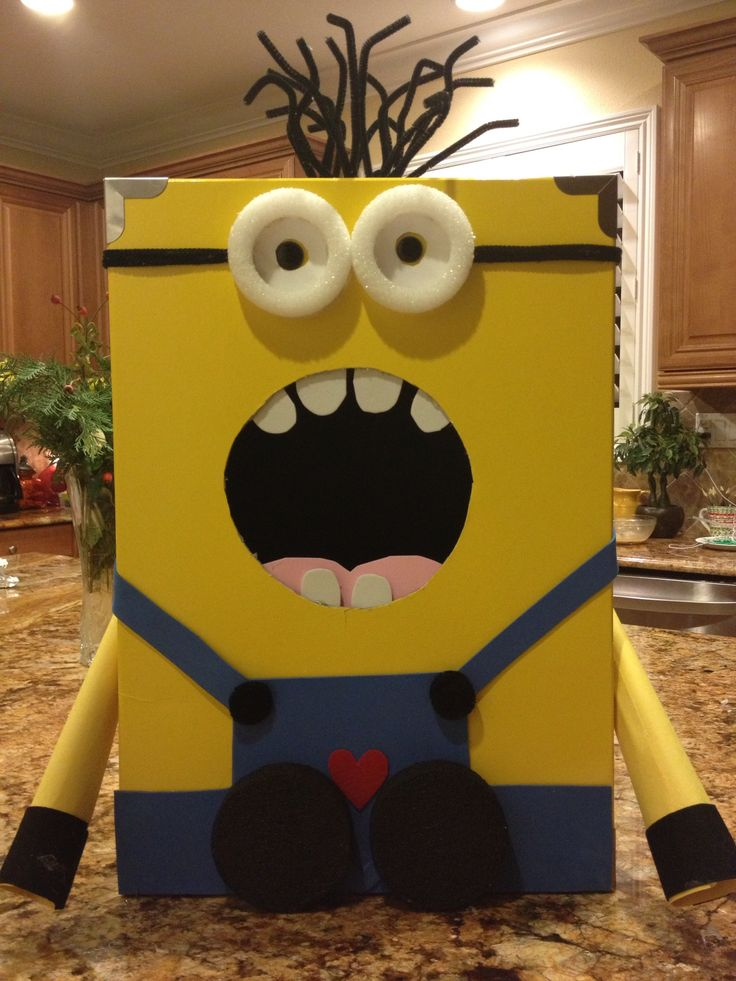 Despicable Me Valentine Card Mailbox for Classroom Parties: Classroom Party, Valentine Card Mailboxes, Minions Valentine, Cereal Boxes, Valentine'S S, Valentine Day Mailboxes Idea, Valentine Boxes Minions, Diy'S Valentine Boxes For Kids, Diy'S Valentine Day Card Boxes