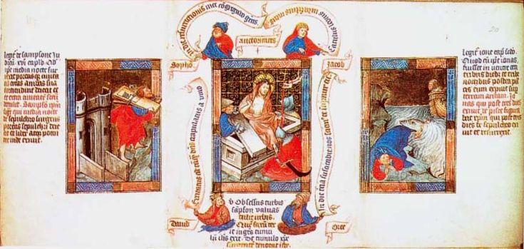 Biblia pauperum - Raccolte medievali di immagini del Nuovo Testamento in relazione con quelle dell'Antico Testamento che, secondo la tradizione, sono anticipazioni della vita di Gesù.