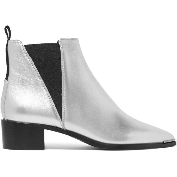 Acne Studios Jensen Alu metallic textured-leather ankle boots ($535) via Polyvore featuring shoes, boots, ankle booties, pointed toe ankle boots, pointed toe booties, metallic boots, slip on ankle boots and pointy toe ankle boots