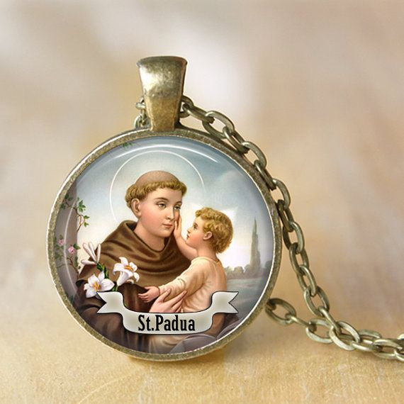 St Anthony of Padua Necklace Saint Pendant by LiteraryArtPrints