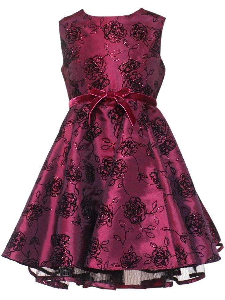 Burgundy Flower Girl Dress - Girl Flocked Dress
