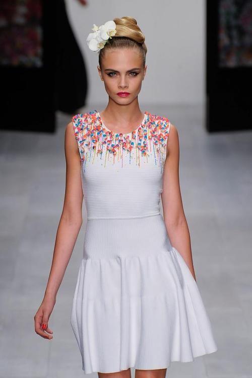Cara Delevingne Black And White Dress