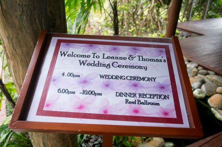 Outrigger Fiji Beach Resort Wedding Ideas Planning Inspiration Tropical Paradise Style Floral Design Planning Photography Sign Pink Timetable Schedule Order of Session Ceremony Memories