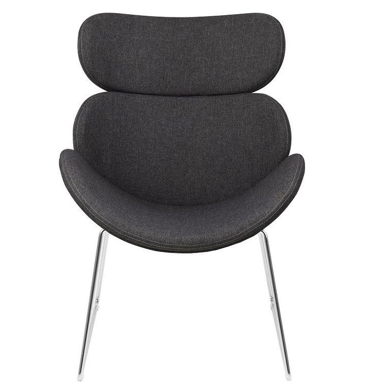 Hunt Hvilestol i grå stof - Krom stel - Hunt hvilestolen har et utrolig smart og moderne design som passer perfekt til den enkle indretning. Hvilestolen er fremstillet af krom med et sæde i mørkegråt tekstil. Sædet og ryggen på hvilestolen er lavet i organiske former og virker derfor ikke tungt i rummet. Stolen er samtidig behagelig at sidde på og kan for eksempel bruges i et hjørne i stuen.