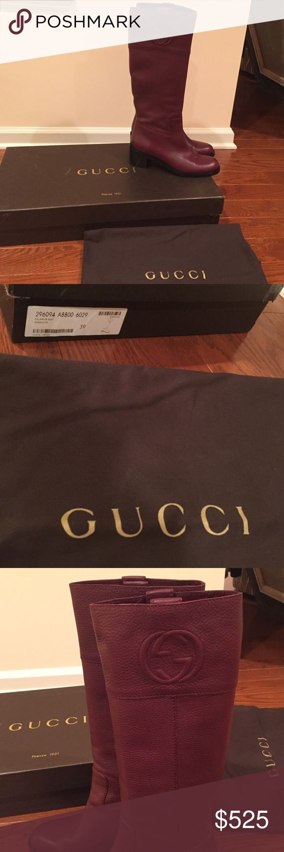 $1795 New Gucci Cellarius Scarlatto Riding Boots Nearly brand new and only worn once, these Gucci riding boots come with their box and dust bag. They can easily be authenticated at any Gucci boutique or luxury department store. They run true to size and can comfortably fit 38.5-39.5 (8.5-9.5). No trading or bargaining. These were purchased for over $1800 after taxes and have nearly spotless soles as well as very high quality genuine soft leather. Color is a beautiful wine red color. Gucci…