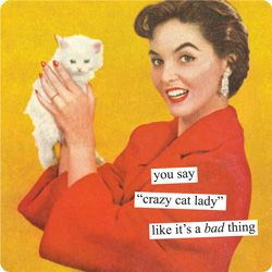 "Canvas Prints from Anne Taintor: you say ""crazy cat lady"" like it's"
