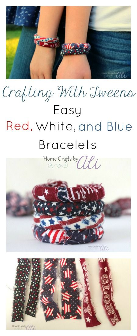 Crafting with Tweens - Easy Red, White, and Blue Bracelets. Follow this easy tutorial to make a quick patriotic craft for kids
