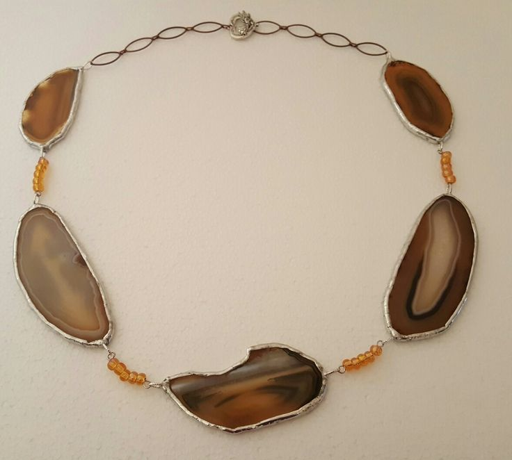 """New Listing! One-Of-A-Kind Nickel Free Chain, with Wings & Heart clasp. Lead Free Solder, wrapped around each Unique Agate Stone, golds, brown & black in color. The necklace is 26"""" in length.  $45.00"""