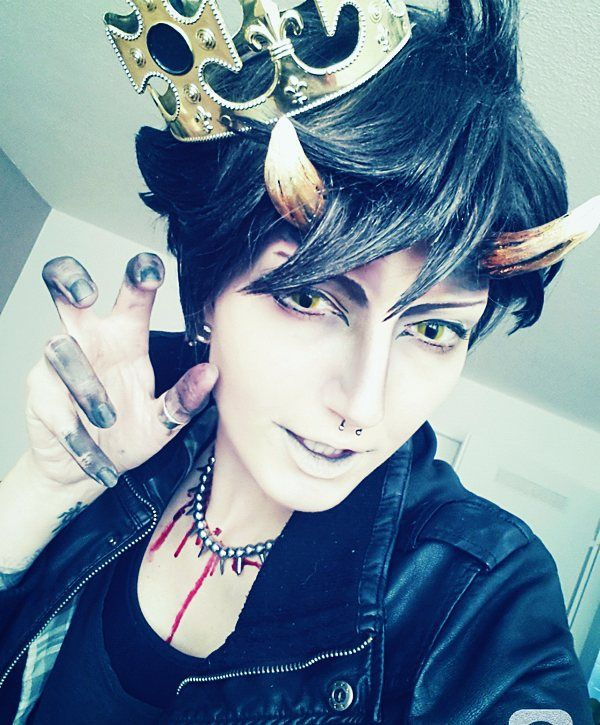 Demon King Oikawa cosplay by Murdoc_Niccals. (costume, demon, horns, cat eye contact lenses)