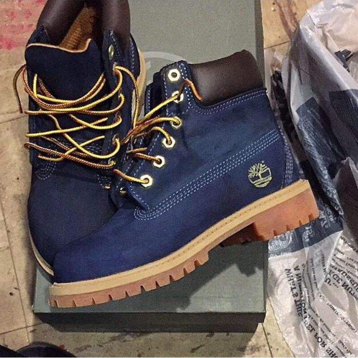 Navy suede Timberlands. Need these in my closet