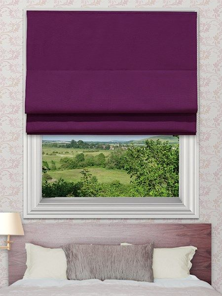 Curtis Purple Roman Blinds - The Curtis roman blind range can be made with standard or blackout lining. The blackout lining can only be made with roman blinds with a deluxe headrail system.