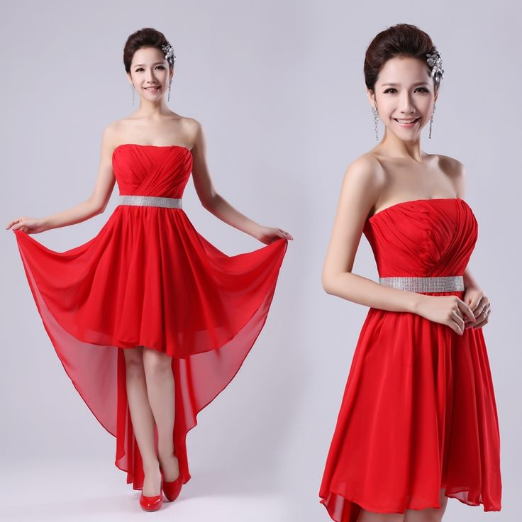 Free Shipping 2013 New Fashion Design Front Short Long Trailing Red Chiffon Bandage Brides Maid Dress for promotio $32.50