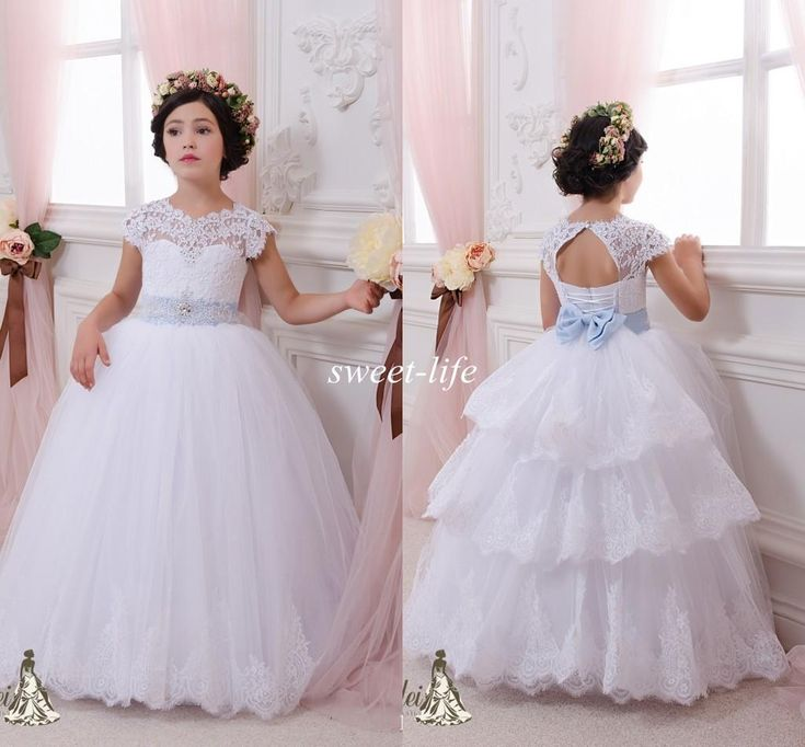 Lace Ball Gown Flower Girl Dresses 2015 Cheap Sky Blue Sash Floor Length Keyhole Back Wedding Party Communion Kids Gowns Girls Pageant Dress Online with $81.28/Piece on Sweet-life's Store | DHgate.com