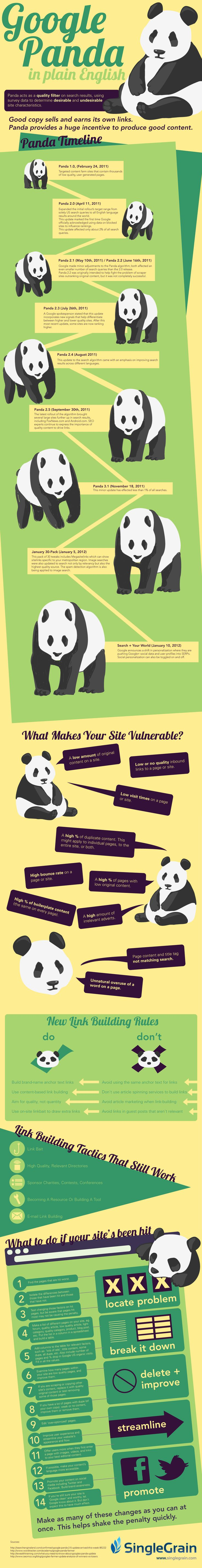 Google Panda Info graphic, showing the effect of the Google Panda update on website rankings and offering advice for anyone who's site was affected by the update